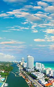 Fotos USA Haus Küste Himmel Miami Wolke Florida Kanal Städte