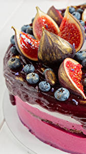 Bilder Süßigkeiten Torte Echte Feige Heidelbeeren