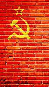 Fotos Wand Aus backsteinen Rot Hammer und Sichel UdSSR