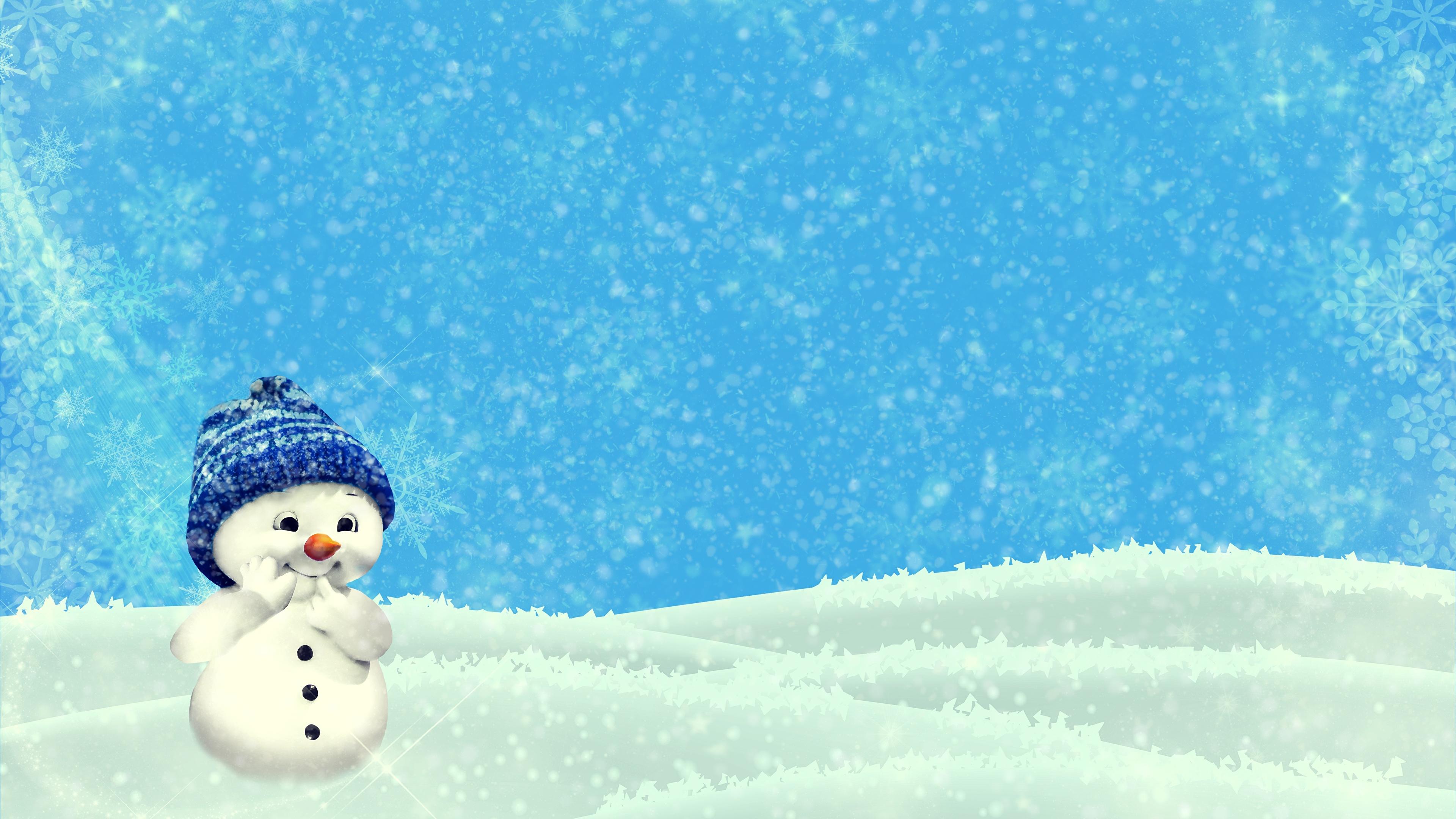 壁紙 3840x2160 冬 雪 雪だるま 暖かい帽子 テンプレート