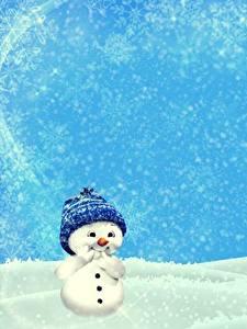Bilder Winter Schnee Schneemänner Mütze Vorlage Grußkarte