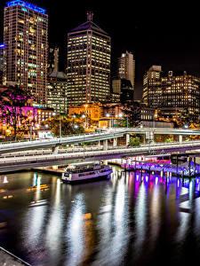 Fotos Australien Gebäude Flusse Bootssteg Brücken Brisbane Nacht Städte