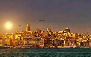 Hintergrundbilder Istanbul Türkei Gebäude Flusse Sonnenaufgänge und Sonnenuntergänge Sonne Städte