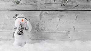 Bilder Neujahr Bretter Mauer Schneemänner Christbaum Schnee