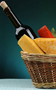 Bilder Käse Picknick Weidenkorb Flasche