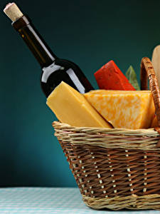 Images Cheese Picnic Wicker basket Bottle