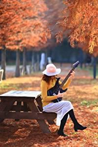 Bilder Park Herbst Gitarre Sitzend Der Hut Mädchens