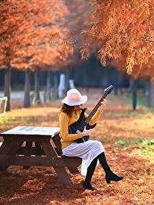 Images Parks Autumn Guitar Sitting Hat Girls