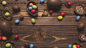 Bilder Ostern Schokolade Bonbon Süßigkeiten Bretter Eier Lebensmittel