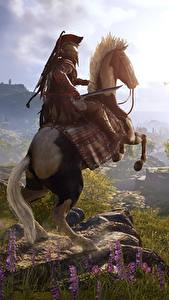 Wallpaper Horses Warriors Mountains Meadow Assassin's Creed Odyssey Games 3D_Graphics Nature