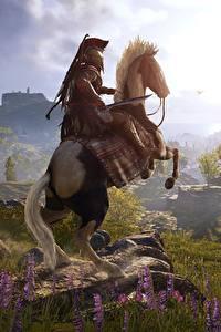 Hintergrundbilder Pferd Krieger Berg Grünland Assassin's Creed Odyssey computerspiel 3D-Grafik Natur