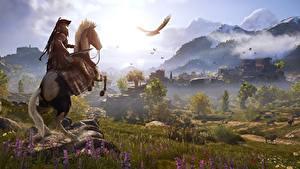 Hintergrundbilder Hauspferd Krieger Gebirge Grünland Assassin's Creed Odyssey Spiele 3D-Grafik Natur