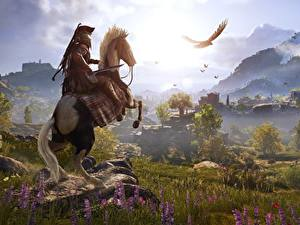 Hintergrundbilder Hauspferd Krieger Gebirge Grünland Assassin's Creed Odyssey 3D-Grafik Natur