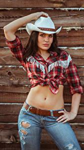 Hintergrundbilder Bretter Wand Bauch Der Hut Hemd Mädchens