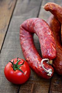 Bilder Fleischwaren Wurst Tomate Bretter