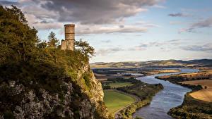 Hintergrundbilder Schottland Flusse Acker Felsen Türme Kinnoull Hill Tower Perth Natur