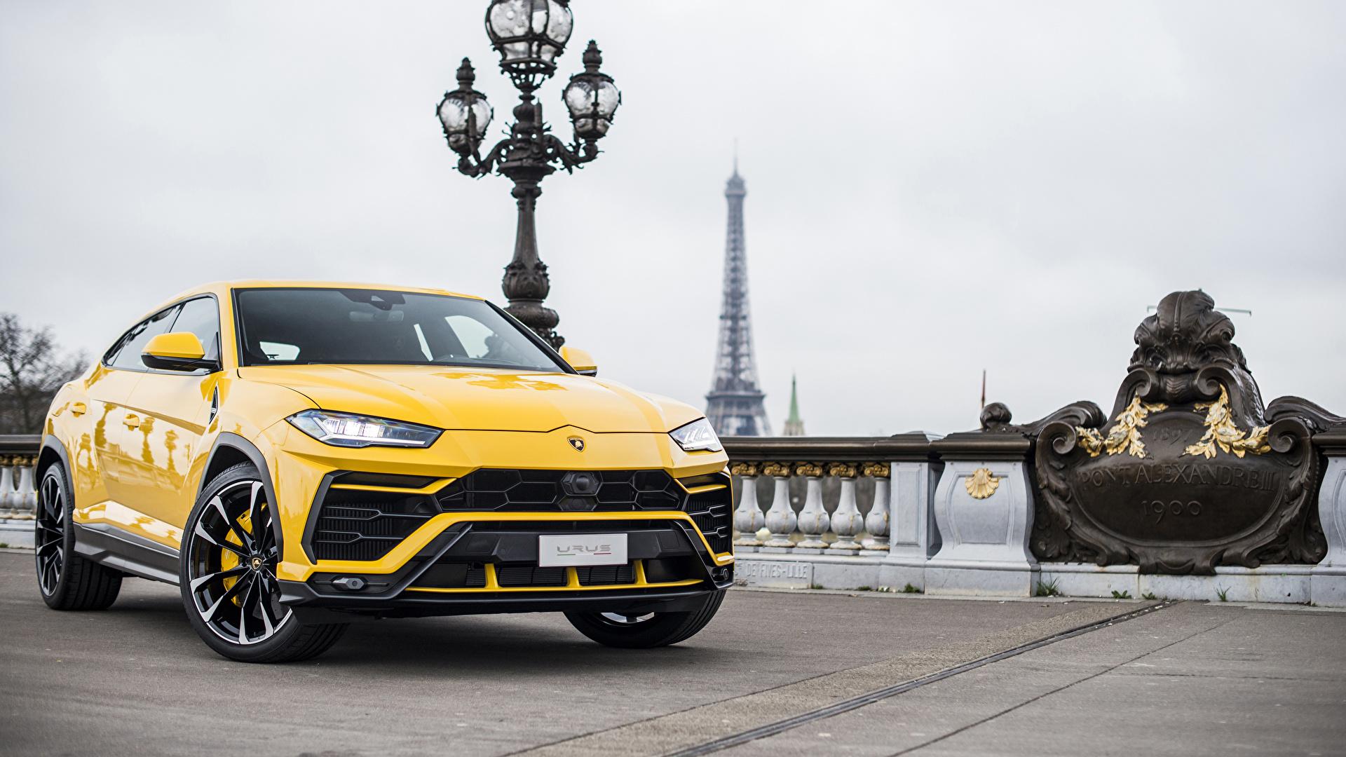 Fotos von Lamborghini 2018 Urus Gelb Autos Metallisch 1920x1080