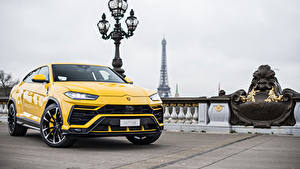 Hintergrundbilder Lamborghini Gelb Metallisch 2018 Urus