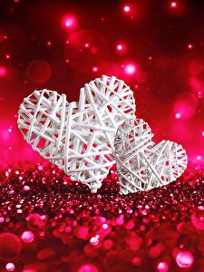 Papéis de parede Dia dos Namorados Coração 2 Fundo vermelho