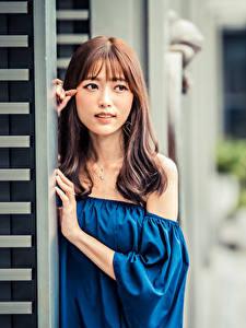 Fotos Asiatische Blick Unscharfer Hintergrund Braune Haare