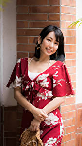 Hintergrundbilder Asiaten Kleid Lächeln Blick Brünette