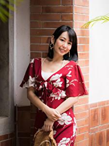 Hintergrundbilder Asiaten Kleid Lächeln Blick Brünette junge frau