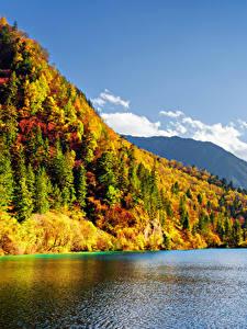 Sfondi desktop Valle del Jiuzhaigou Cina Parchi Montagna Foreste Lago Autunno Natura