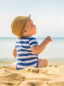 Hintergrundbilder Strände Säugling Der Hut Sand Kinder