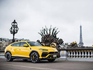 Bilder Lamborghini Gelb Metallisch 2018 Urus