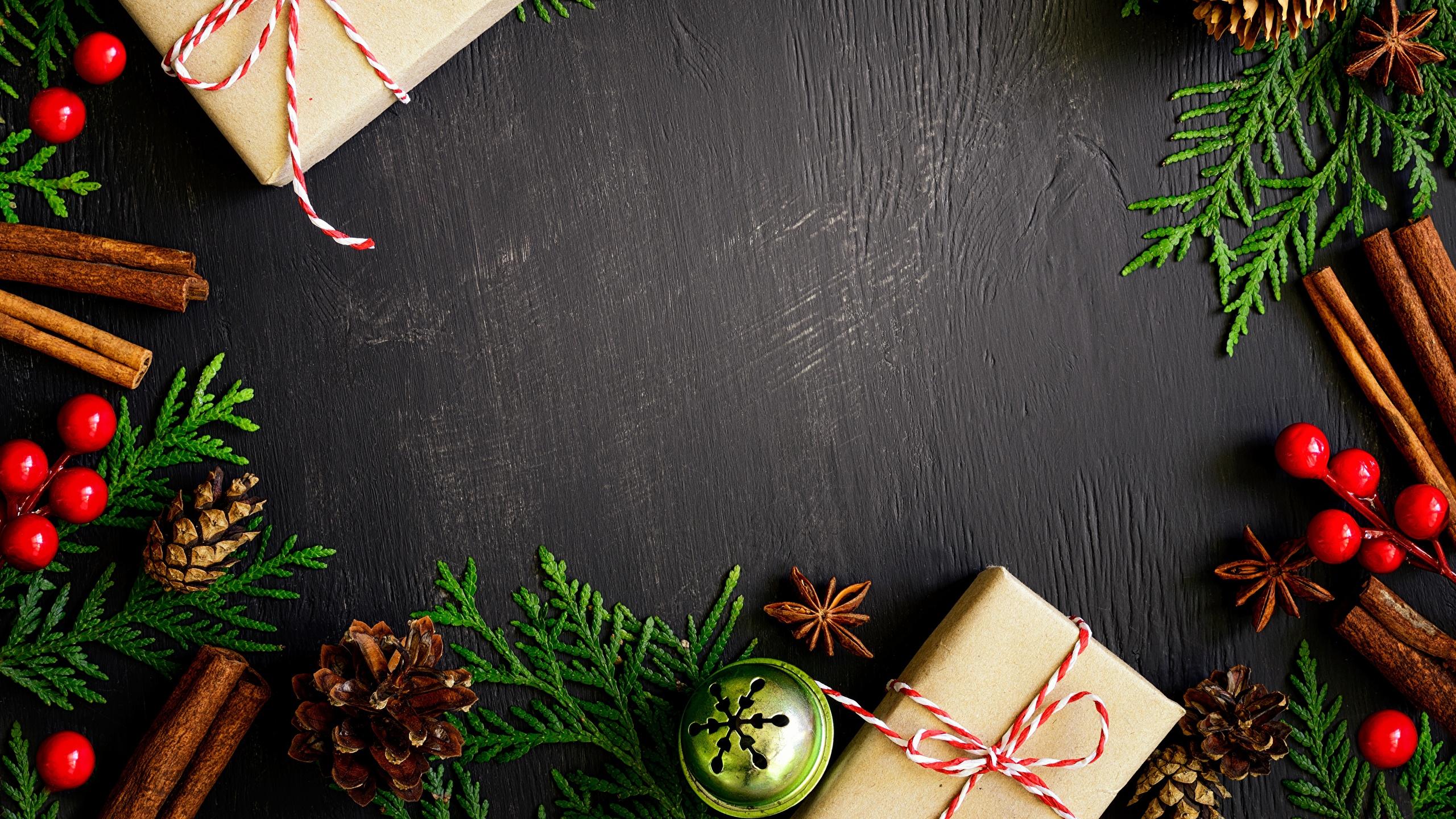 Desktop Wallpapers Christmas Present Conifer Cone Template 2560x1440