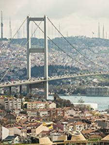 Hintergrundbilder Istanbul Türkei Haus Flusse Brücke Städte