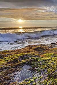 Bilder Küste Sonnenaufgänge und Sonnenuntergänge Wasserwelle