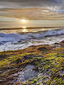 Bilder Küste Sonnenaufgänge und Sonnenuntergänge Wasserwelle Natur