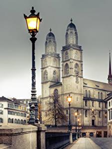 Bilder Zürich Schweiz Gebäude Brücken Zaun Straßenlaterne