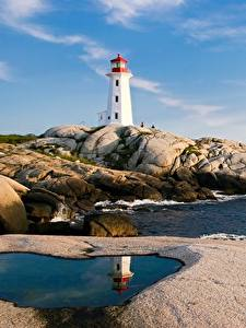 Fotos Leuchtturm Küste Steine Kanada Peggy's Cove Lighthouse