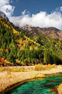 Sfondi desktop Valle del Jiuzhaigou Cina Parchi Autunno Montagna Fiume Paesaggio Natura
