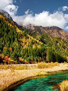 Hintergrundbilder Jiuzhaigou park China Park Herbst Gebirge Flusse Landschaftsfotografie