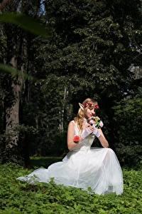 Fonds d'écran Forêt Elfe Bouquet Herbe Assise Mariées Les robes Fantasy Filles