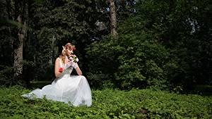 Fotos Wald Elfe Blumensträuße Gras Sitzt Bräute Kleid Fantasy Mädchens