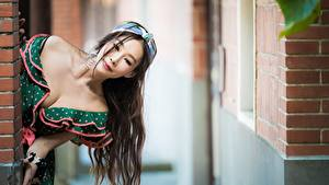 Pictures Asian Bokeh Frock Neckline Hair Brown haired Girls