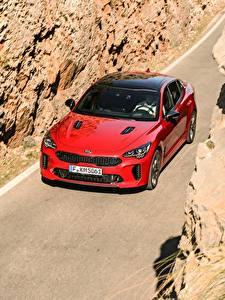 Bilder KIA Rot Metallisch Vorne 2017 Stinger GT Worldwide Autos