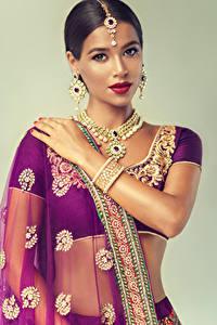 Wallpaper Indian Jewelry Brunette girl Earrings Hands Colored background Girls