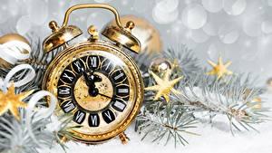 Bakgrundsbilder på skrivbordet Klocka Urtavla Väckarklocka Jul Små stjärnor