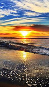 Hintergrundbilder Landschaftsfotografie Küste Morgendämmerung und Sonnenuntergang Wasserwelle Himmel Wolke Sonne Horizont Natur