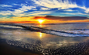 Hintergrundbilder Landschaftsfotografie Küste Sonnenaufgänge und Sonnenuntergänge Wasserwelle Himmel Wolke Sonne Horizont Natur