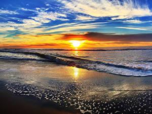 Hintergrundbilder Landschaftsfotografie Küste Sonnenaufgänge und Sonnenuntergänge Wasserwelle Himmel Wolke Sonne Horizont