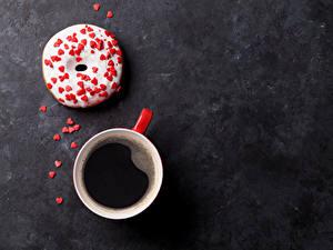 Fotos Kaffee Donut Süßware Tasse Herz