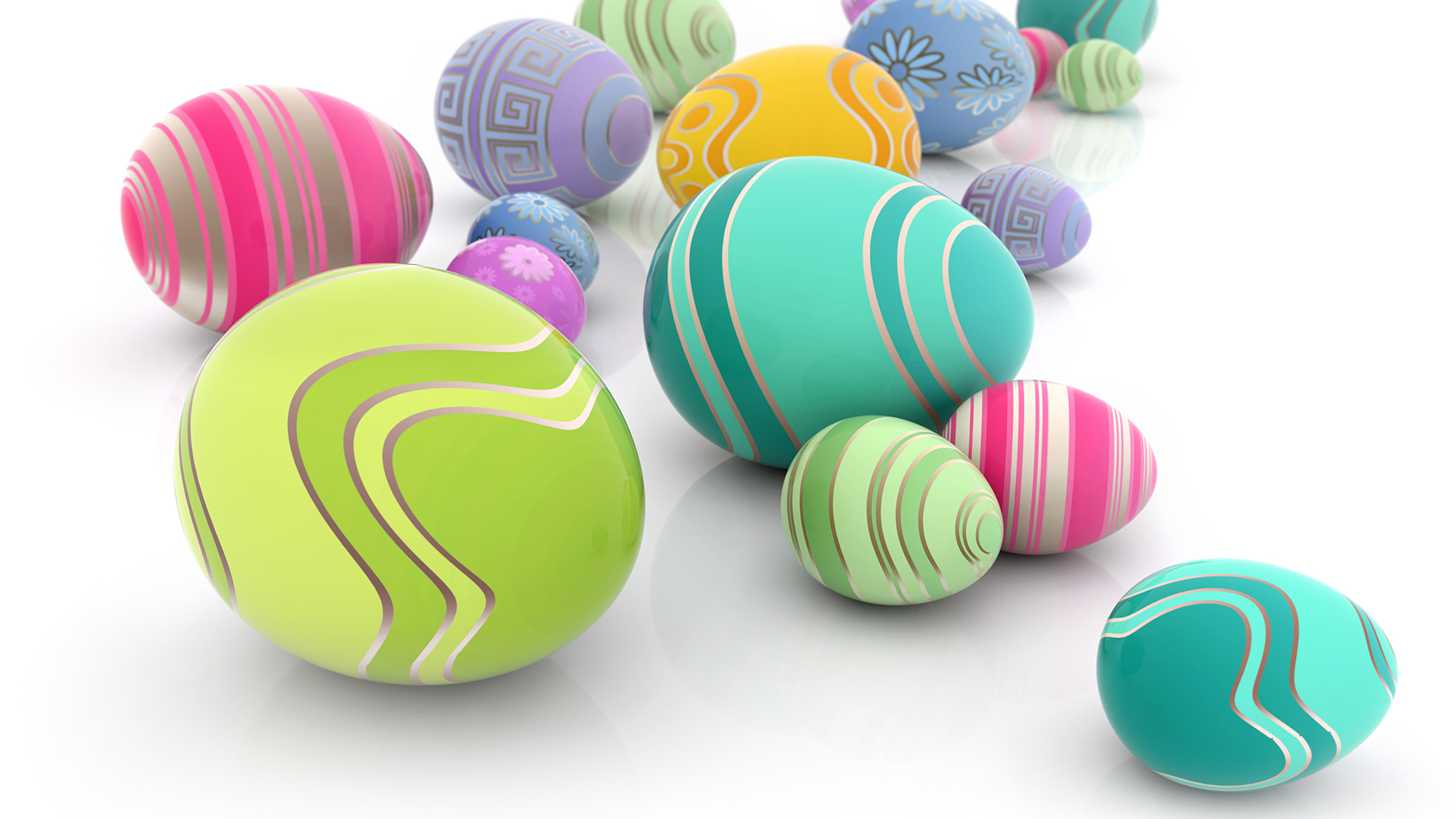 Picture Easter Eggs Holidays White Background 2560x1440