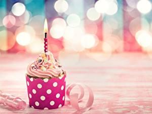 Papéis de parede Velas Cupcake Aniversário Alimentos