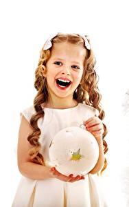Fotos Neujahr Kleine Mädchen Fröhlicher Christbaum Hand Kugeln Lebensmittel